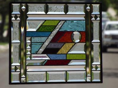 """• COLOR YOUR WORLD•Beveled Stained Glass Window Panel≈18 1/2""""x 14 1/2"""" (47x37cm)"""