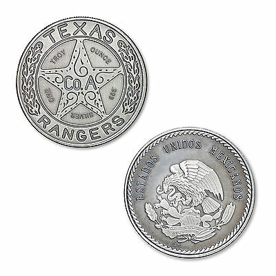 Texas Rangers Lone Star Badge 1 oz .999 Silver Antiqued Finish USA Made Round