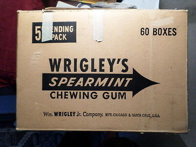 Vintage Wrigley's SPEARMINT Chewing Gum 60 Boxes Cardboard Delivery Box 5 CENT