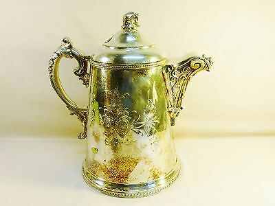 Antique HEAVY SILVER PLATED Tanker early 1800's Bear Insignia On Top 5lbs