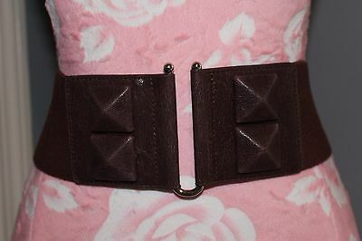 New York & Company Brown Wide Metal Buckle Stretchy Waist Belt, Size S/M
