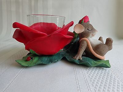 Fritz & Floyd - Red Rose Votive Candle Holder - Charming Tails - Mouse Figurine