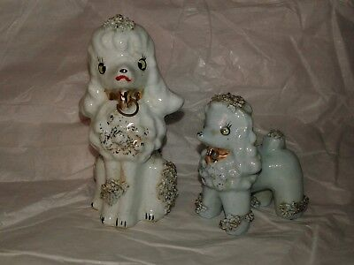 Vintage 50's Mid Century Blue Poodle Dog Replacement Figurines Spaghetti Trim