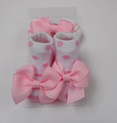 Baby Girl Socks and Headband Set Gift Pink Newborn to 12 Months