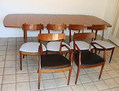 Mid Century Drexel Kipp Stewart Declaration Walnut Dining Table leaves 6 Chairs