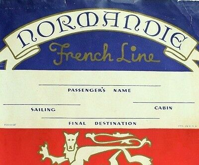 "1930's-40's SS Normandie French line Luggage Label 5"" X 6 1/4"" Nice *T"