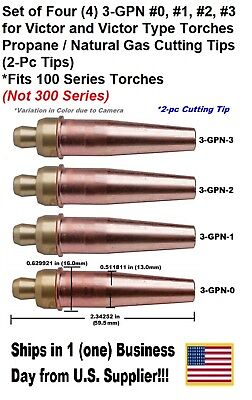 Propane/Natural Gas Cutting Tip 3-GPN #0,1,2,3 for Victor Type Torch -4 Tips-2pc