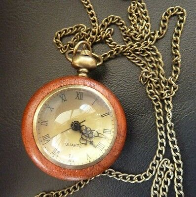 Antique Style Steampunk Glass Dome Timber Mechanical Pocket Watch Necklace