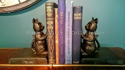Pair of Antique Style Cast Iron Cat Kittens Book Ends Bookends Door Stop