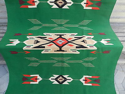 "Beautiful Antique Green & Purple Chimayo Blanket With Arrows, 52""x84"", Nice!"