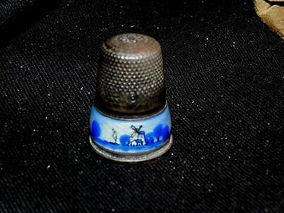 Vintage Enamel On Sterling Silver Germany Size 6 Thimble Holland Buy Now Offer