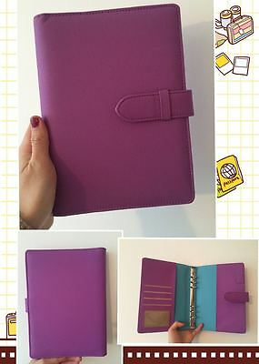purple planner organizer A5 large desk size PU leather NEW 6ring