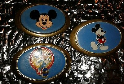Lot of 3 Walt Disney Productions Solid Baron Brass Mickey Mouse Belt Buckles