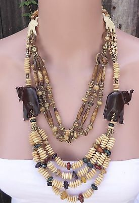 Two Vtg. Swag Carved Elephant Wood Multi-Color Bead Necklaces w/ Earrings