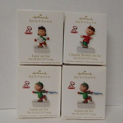 Hallmark Ornament The Peanuts Gang Charlie Brown Lucy Linus on Ice 2010  lot
