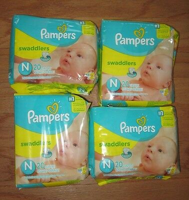 4 New Packages Of Pampers Swaddlers Newborn Diapers Up To 10Lbs~80 Diapers Total