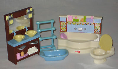 Fisher Price Loving Family Doll House Deluxe Bathroom Vgc