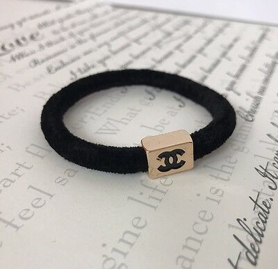 Authentic Chanel VIP Gift Hair Tie Woman's Black Fashion Suede Gold Accessories