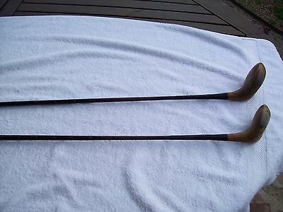 2 Old Antique Golf Clubs Drivers Timber Heads