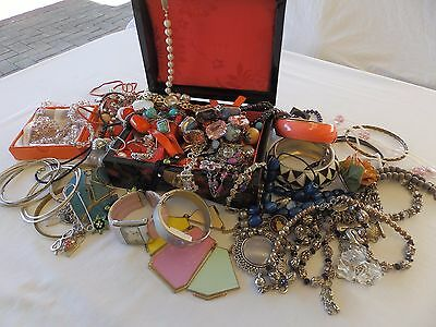 Bulk Lot Jewellery - Vintage, Retro & Modern  + Wooden Lacquared Jewellery Box