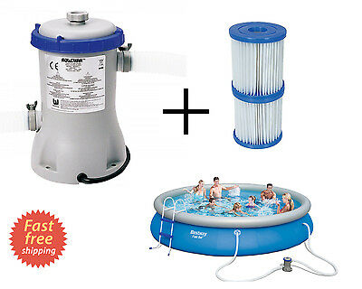 Swimming Pool Filter Pump Flow Clear Fast Set Inflatable Pools 530G/h+ 2 Filters
