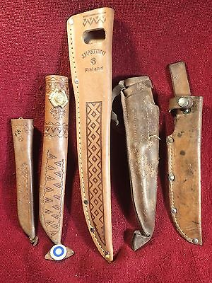 Lot of 5 VINTAGE KNIFE PUUKKO REAL LEATHER SHEATH ( NO KNIVES !) FINLAND FINNISH