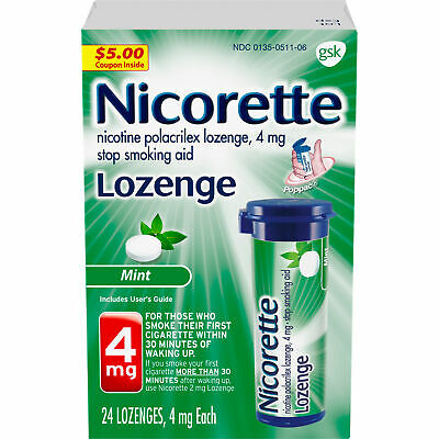 Nicorette Mint Flavor Lozenge, Stop Smoking Aid, 4Mg - 24 Count (Pack Of 3)