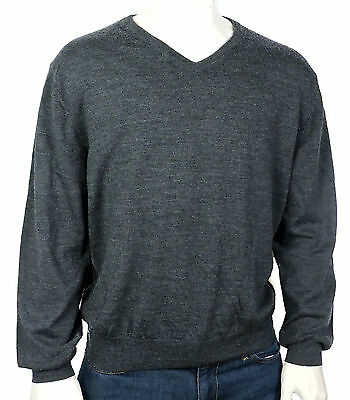 New Bloomingdales The Mens Store Grey Extra Fine Merino V-Neck Sweater Size XXL