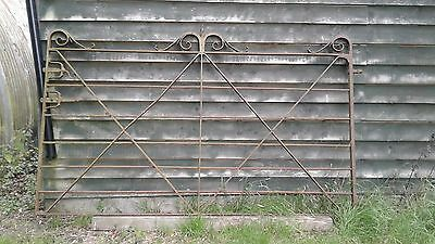 Vintage wrought iron gate 7.7ft wide x 4.8ft high  blacksmith hand made 1900s