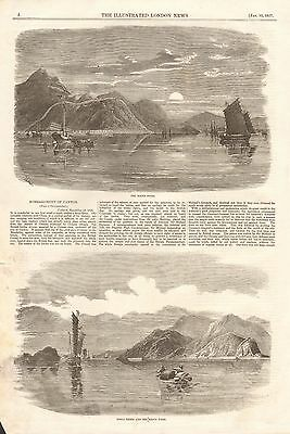 1857 Antique Print- China-Bombardment Of Canton, 2 Prints