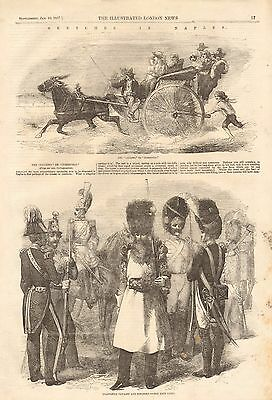 1857 Antique Print- The Calesso, Neapolitan Cavalry And Infantry