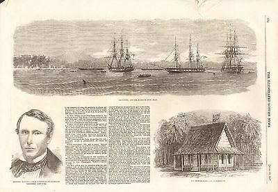 1857 Antique Print- General Walker's Filibustering Expedition, Greytown Harbour