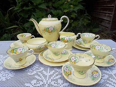 Aynsley hand painted floral yellow ground Coffee set