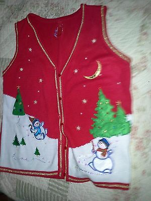 Winter Holiday Sweater Vest - Misses Size M (8-10)