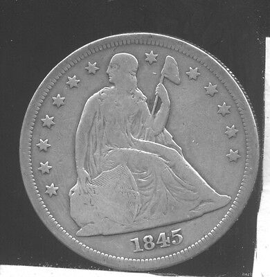 1845 Seated Liberty Silver Dollar. Fine.
