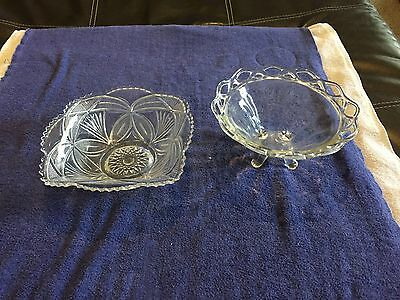 Glass And Cut Glass Bowls / Cut Glass Has Palm Design