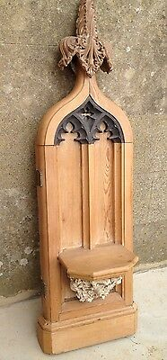 An Unusual Late Victorian Antique Carved Pine Gothic Style Shelf Solid Wood