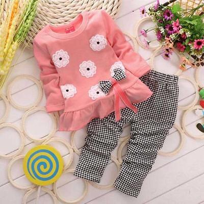 Toddler Kids Baby Girl Autumn T-Shirt Tops Dress+Plaid Pants Outfits Clothes Set