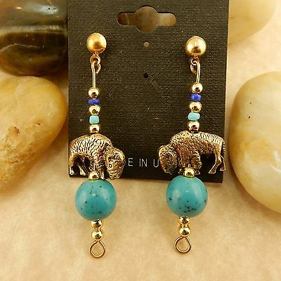 Gold Buffalo beaded Earrings with turquoise beads hand crafted