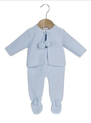 Traditional Spanish Style Baby Boys Blue Knitted Pom Pom Outfit