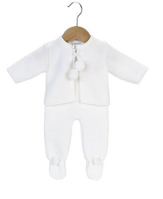 Traditional Spanish Style Baby Boys and Girls White Knitted Pom Pom Outfit