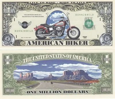 American Biker Novelty Million Dollar Bill-Harley-Davidson Free Shipping