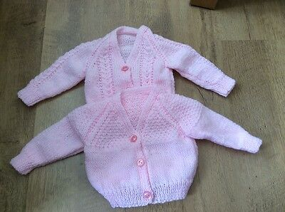 Lovely pair of pink baby cardigans handknitted 0-3 months new
