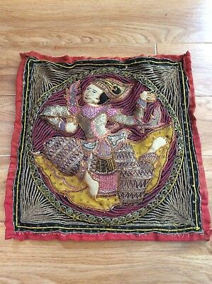 Vintage Asian Burmese ? Embroidered Tapestry Woman Sequence Antique