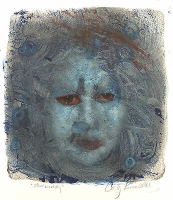 mixed media collage blue face portrait painting paper original unframed original