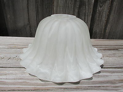 (1) Vintage Glass Light Fixture Sconce Bell Globe Frosted Scalloped Wide