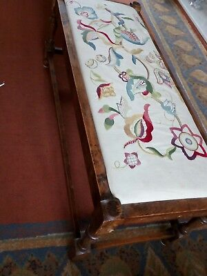 Vintage Long Stool with Tapestry Seat