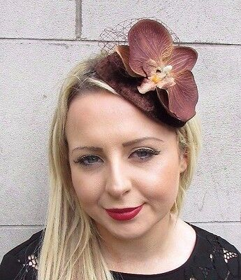 Chocolate Brown Orchid Net Flower Fascinator Teardrop Races Headband Hair 3633