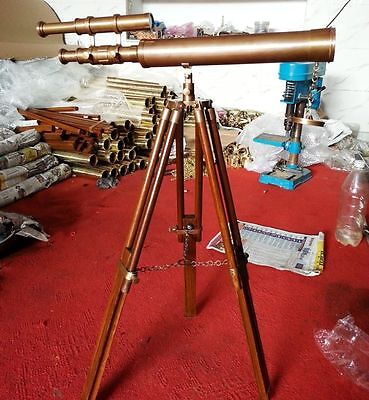Antique Solid Brass Double Barrel Telescope With Stand Nautical Marine Scope G
