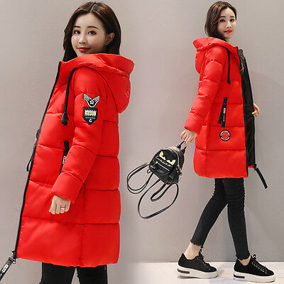 New Winter Womens Jacket Long Down Cotton Coat Warm Slim Thicken Parka Outerwear